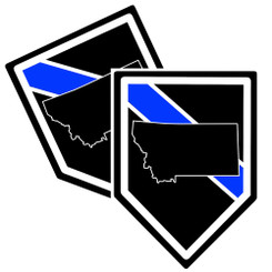 State of Montana Thin Blue Line Police Decal (Sticker) - Pack of 2 Decals