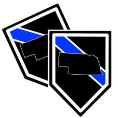 State of Nebraska Thin Blue Line Police Decal (Sticker) - Pack of 2 Decals