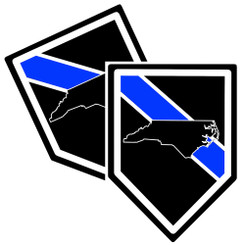 State of North Carolina Thin Blue Line Police Decal (Sticker) - Pack of 2 Decals