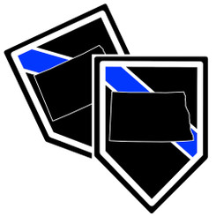 State of North Dakota Thin Blue Line Police Decal (Sticker) - Pack of 2 Decals