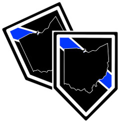 State of Ohio Thin Blue Line Police Decal (Sticker) - Pack of 2 Decals
