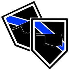 State of Oklahoma Thin Blue Line Police Decal (Sticker) - Pack of 2 Decals