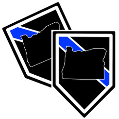 State of Oregon Thin Blue Line Police Decal (Sticker) - Pack of 2 Decals