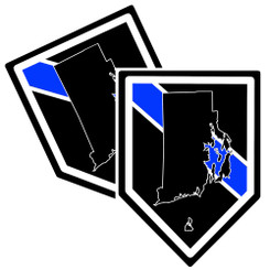 State of Rhode Island Thin Blue Line Police Decal (Sticker) - Pack of 2 Decals