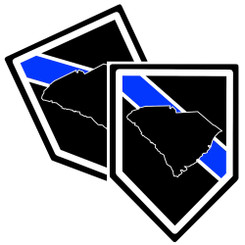 State of South Carolina Thin Blue Line Police Decal (Sticker) - Pack of 2 Decals