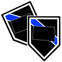 State of South Dakota Thin Blue Line Police Decal (Sticker) - Pack of 2 Decals