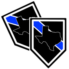 State of Texas Thin Blue Line Police Decal (Sticker) - Pack of 2 Decals