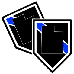State of Utah Thin Blue Line Police Decal (Sticker) - Pack of 2 Decals
