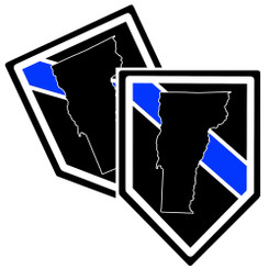 State of Vermont Thin Blue Line Police Decal (Sticker) - Pack of 2 Decals