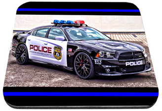 Mustang Charge Police Car With Thin Blue Line Mouse Pad