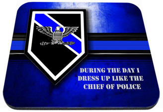 Thin Blue Line Police Chief Rank Mouse Pad