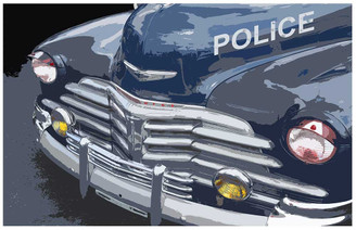Old Chevrolet Police Car 11x17 Poster
