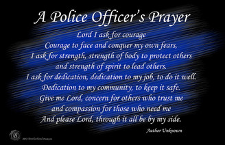 A Police Officer's Prayer Black & Blue 11x17 Poster