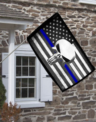 "Thin Blue Line American Punisher Flag 28"" x 40"""