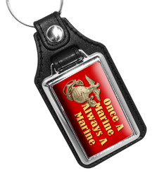 Once A Marine Always A Marine Leatherette Key Ring