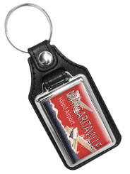Margaritaville Island Airport Printed Emblem Faux Leather Key Ring