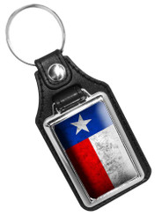 Distressed State of Texas State Flag Design Faux Leather Key Ring