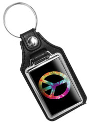 Rainbow Peace Sign Emblem Faux Leather Key Ring