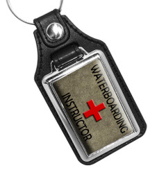 Waterboarding Instructor Emblem Faux Leather Key Ring