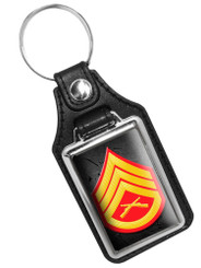 United States Marine Lance Corporal Rank Faux Leather Key Ring