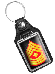 United States Marines First Sergeant Rank Faux Leather Key Ring
