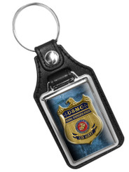United States Marine Corps CID Agent Badge Faux Leather Key Ring