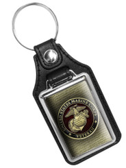 United States Marine Corps Veteran Emblem Rank Faux Leather Key Ring
