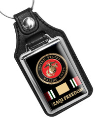 United States Marine Corps Iraqi Freedom Rank Faux Leather Key Ring