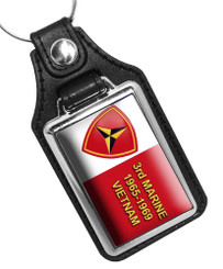 United States Marine Corps 2nd Marine Div 1965-1969 Faux Leather Key Ring