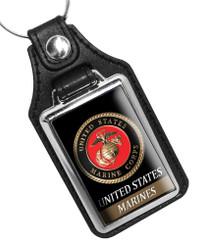 United States Marine Corps Faux Leather Key Ring