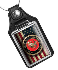United States Marine Corps Emblem Faux Leather Key Ring
