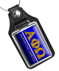 Alpha Phi Omega Fraternity Faux Leather Key Ring