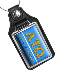 Alpha Tau Omega Fraternity Faux Leather Key Ring