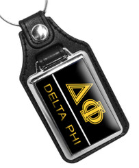 Delta Phi Fraternity Faux Leather Key Ring