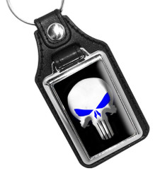 Thin Blue Line Punisher Blue Eyes Faux Leather Key Ring