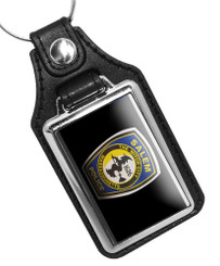 Salem Oregon Police Car Door Emblem Witch on Broom Faux Leather Key Ring