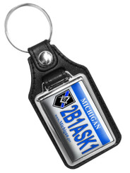 Michigan Thin Blue Line Police Masons 2B1ASK1 Faux Leather Key Ring