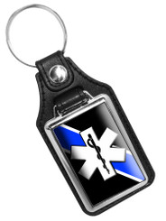 Thin Blue Line Emergency Medical Service Star Of Life Faux Leather Key Ring