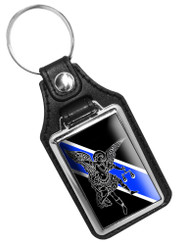 Thin Blue Line St. Michaels Angel Faux Leather Key Ring