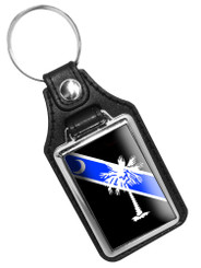 Thin Blue Line South Carolina Palmetto Emblem Faux Leather Key Ring
