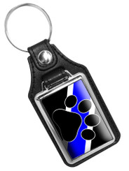 Thin Blue Line K9 Officer Paw Faux Leather Key Ring