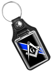 Thin Bllue Line Free Masons Emblem Faux Leather Key Ring