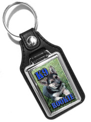 K9 Rookie German Shepherd Puppy Faux Leather Key Ring