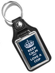 Keep Calm And Love A Cop Faux Leather Key Ring
