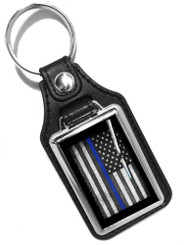 Thin Blue Line American Flag Faux Leather Key Ring