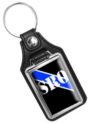 Thin Blue Line SRO School Resource Officer Faux Leather Key Ring