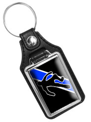 Thin Blue Line Homicide Chalk Body Outline Faux Leather Key Ring