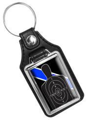 Thin Blue Line Firearms Instructor B27 Target Faux Leather Key Ring