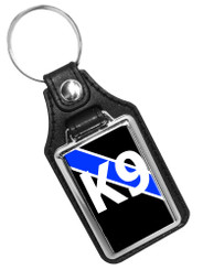 Thin Blue Line Police Sheriff K9 Canine Unit Faux Leather Key Ring