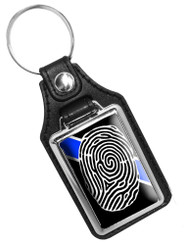 Thin Blue Line CSI Crime Scene Investigator Faux Leather Key Ring